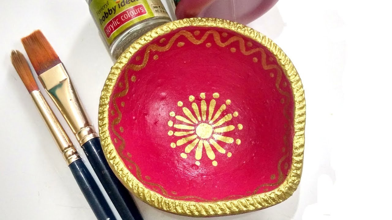 Easy diya painting part 2 for diwali diya decoration for Diya decoration youtube