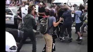 AP: One dead after car runs into Charlotte protesters. Full video