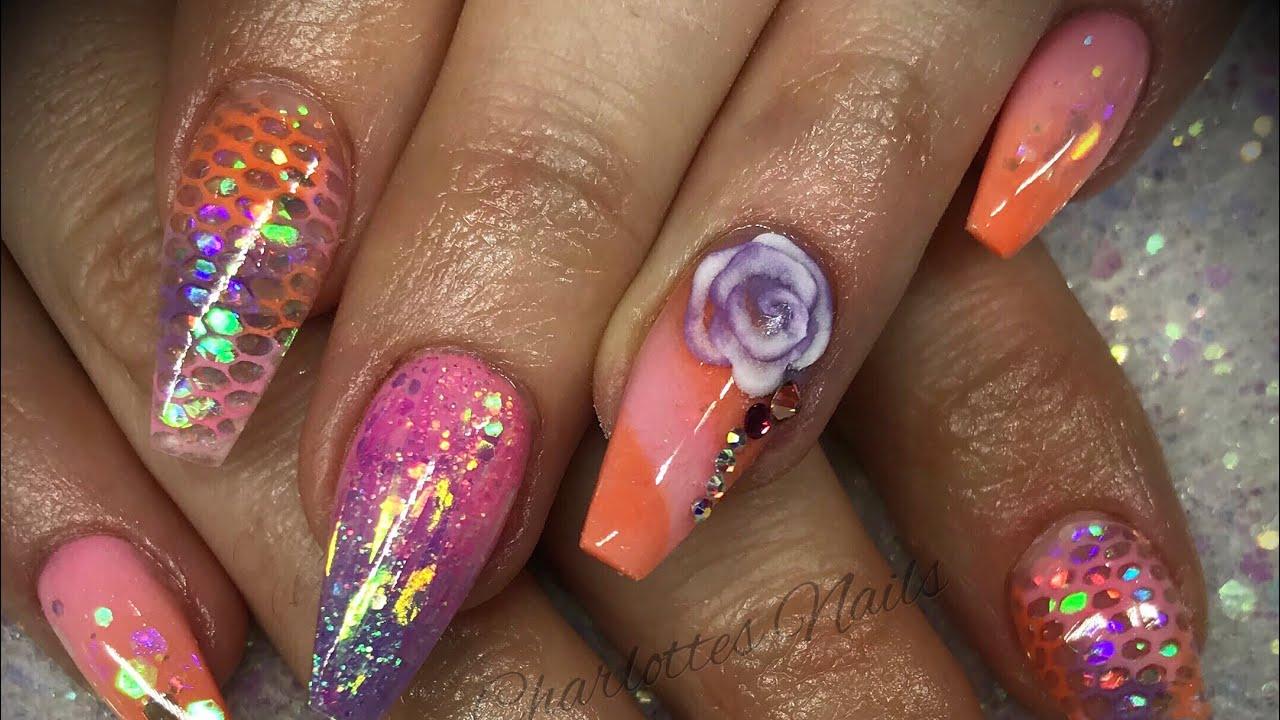 acrylic nails - pastel design set