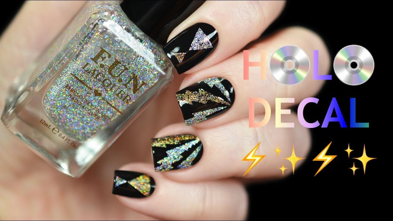 DIY HOLO NAIL POLISH DECAL | F.U.N LACQUER - YouTube