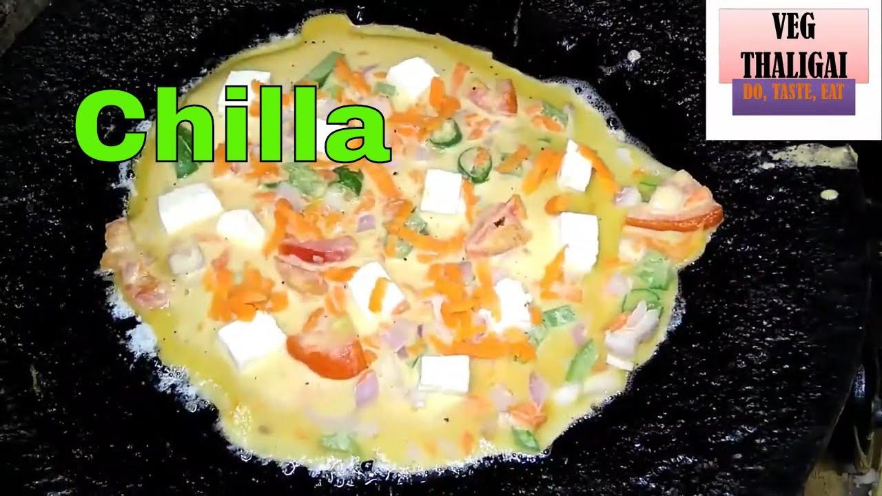 panner chilla recipe in tamil/ besan chilla/panner veg omelette/ breakfast recipe/Veg thaligai