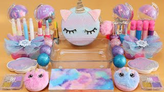 """Mixing""""Glitter Unicorn"""" Eyeshadow and Makeup,parts,glitter Into Slime!Satisfying Slime Video!★ASMR★"""