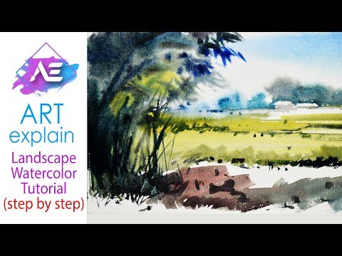 Watercolor Landscape Painting bamboo tree | How to paint a watercolor landscape | Art Explain
