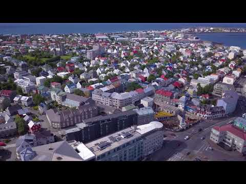 Flying around Downtown Reykjavik, Iceland [4K]