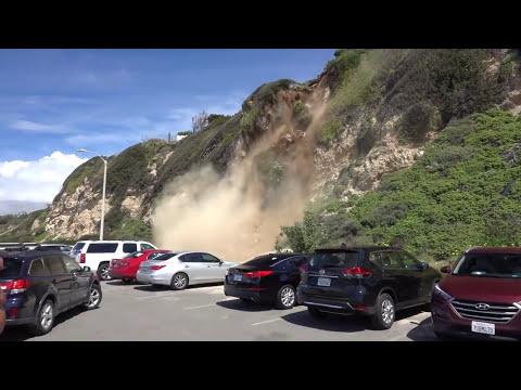 Man Captures Mountain Side Collapsing in Malibu