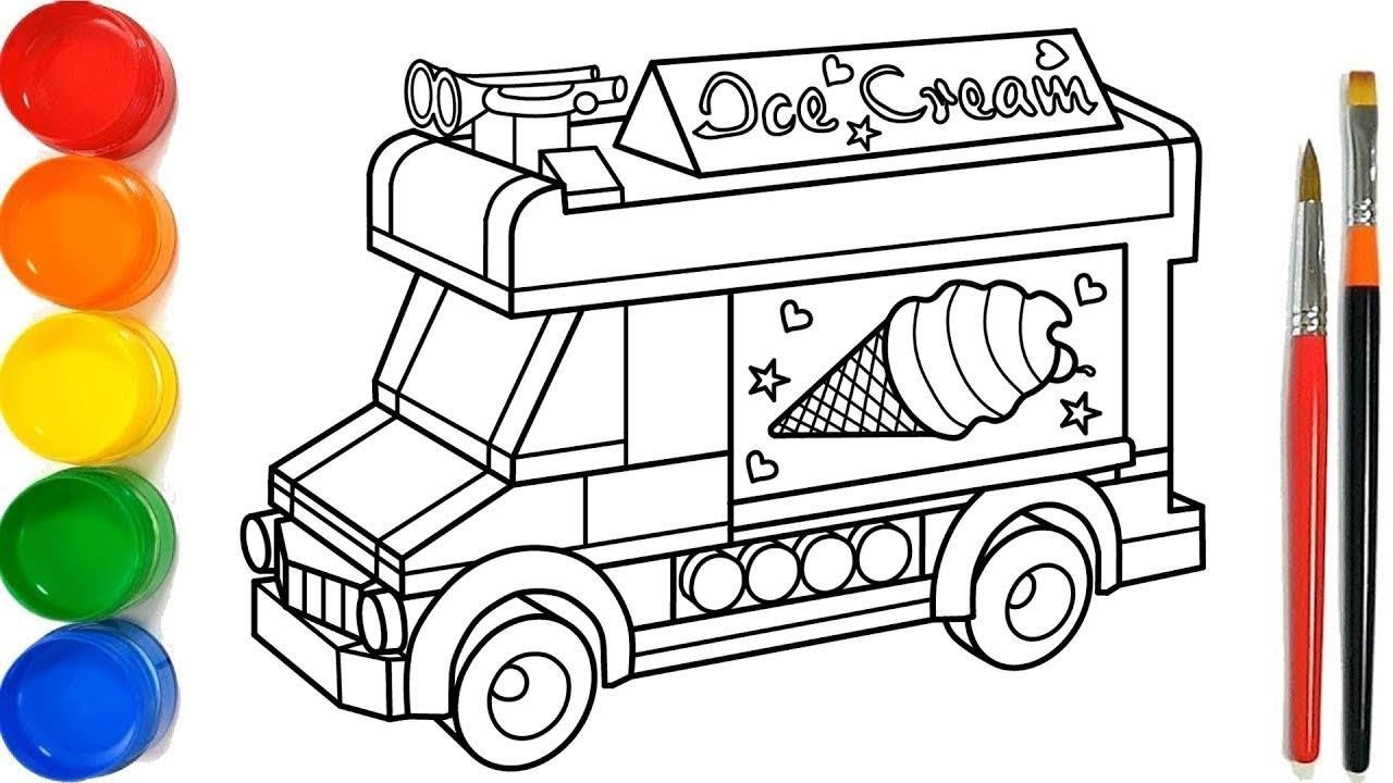 Glitter Ice Cream Truck Coloring Pages For Kid