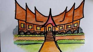 Belajar Menggambar Rumah Adat Minangkabau Untuk Anak Sd Youtube