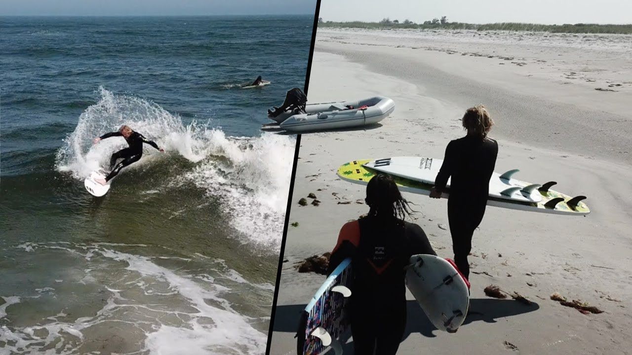 Surfing On An Uninhabited Island Off New Jersey Youtube