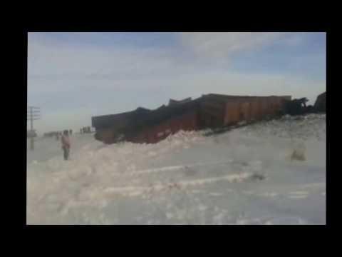 12 грузовых вагонов гружоных углем сошли с рельсов