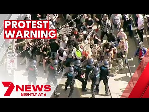 Trains, trams and buses shut down as Victoria Police try to stop anti-lockdown protesters | 7NEWS
