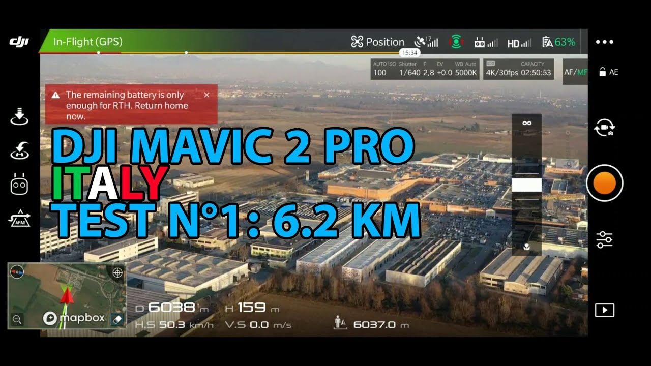 DJI MAVIC 2 PRO LONG RANGE TEST - FCC Mode in ITALY - 6 2 KM (TEST N°1)