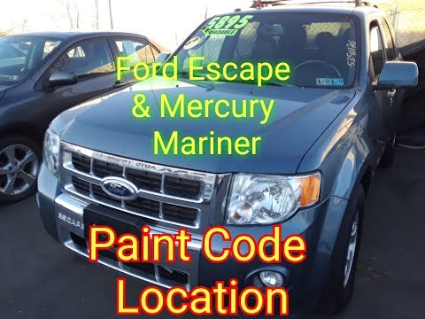 Ford Escape / Mercury Mountaineer Paint Code Location