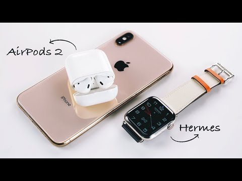 AirPods 2 и распаковка Apple Watch S4 Hermès