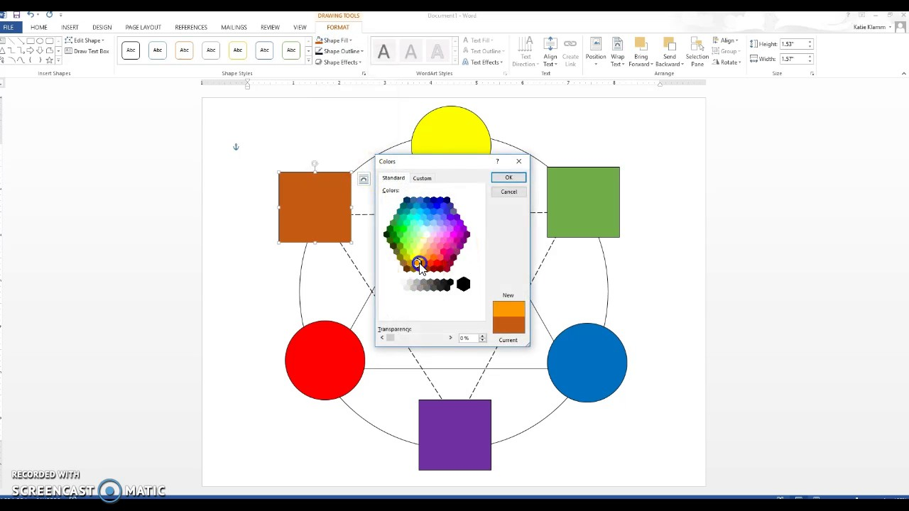 Color Wheel In Word Youtube