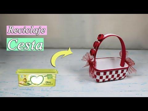 Como hacer una cesta con un envase de mantequilla