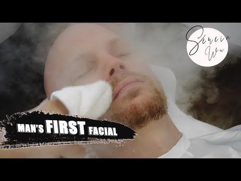 MAN GETS HIS FIRST FACIAL TREATMENT W/ EXTRACTIONS