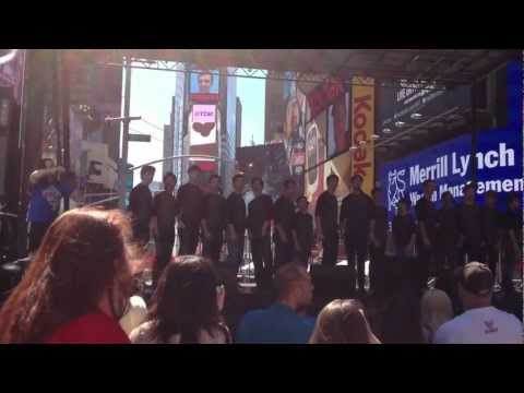 Broadway cast of Newsies performs