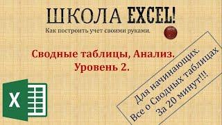 Сводные таблицы, Анализ. Уровень 2.