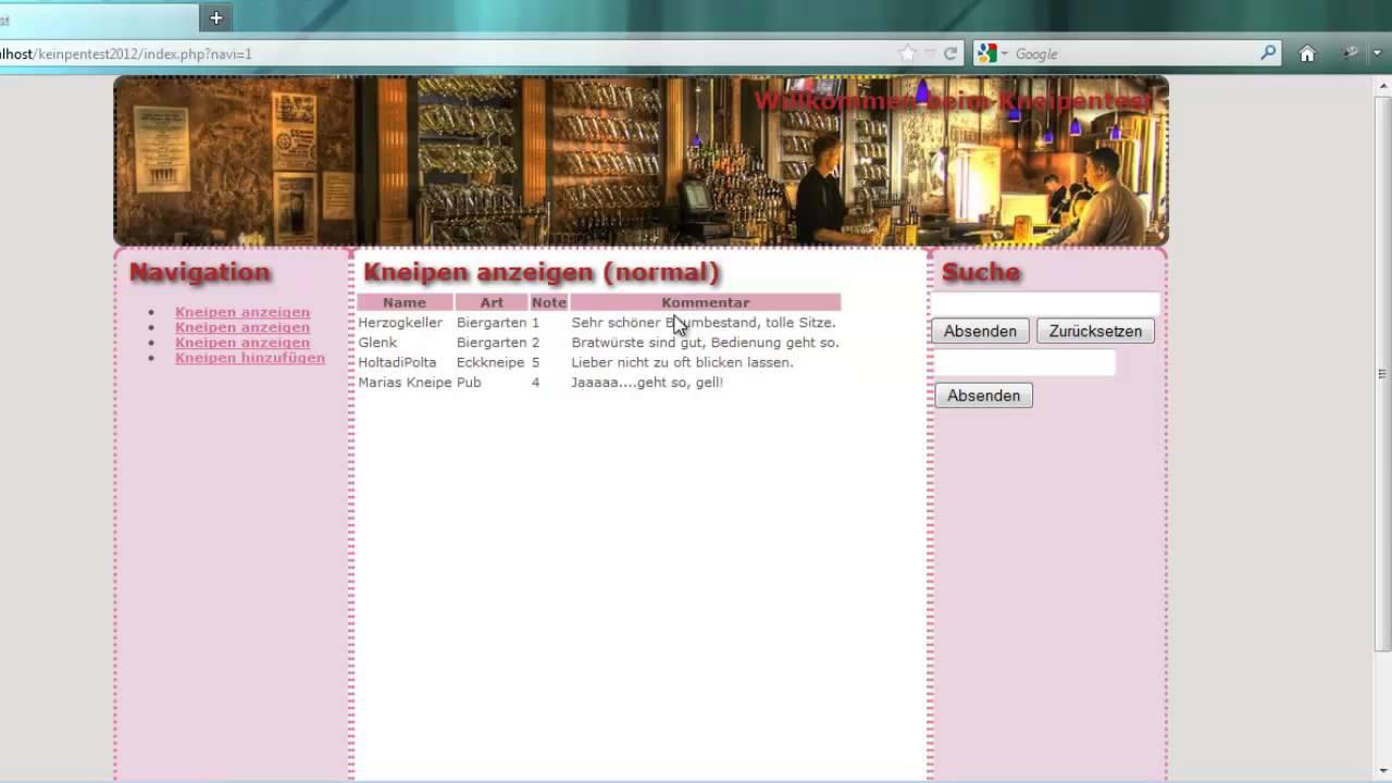 Webtechnologien (HTML5, CSS3, PHP, MySQLi, jQuery, JSON)