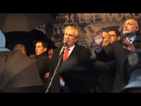 Czech president Milos Zemen pelted with eggs during protest