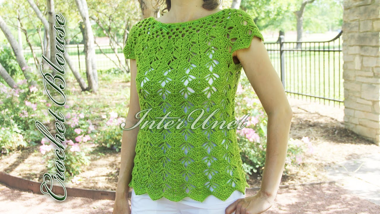 Crochet Top Down Blouse Sleeveless Summer Top Crochet Pattern