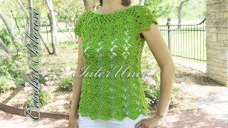 Crochet top-down blouse. Sleeveless summer top crochet pattern.