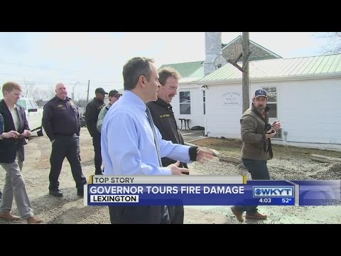 Governor Bevin visits Lexington fire scene