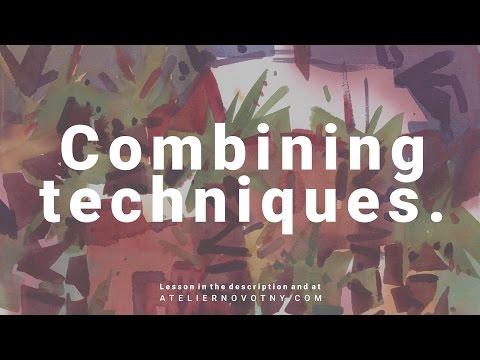 Combining techniques. Watercolor demonstration by Daniel Novotny