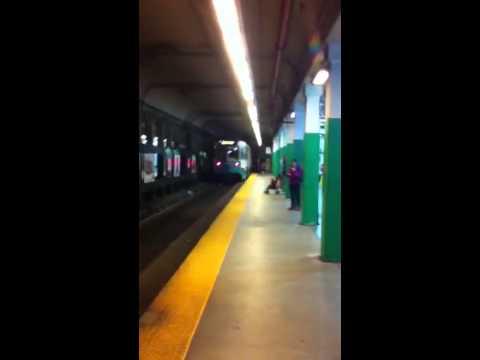 MBTA Green Line E train Leaving Copley