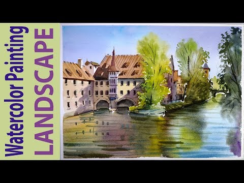 Watercolor Landscape Painting : Nuremberg Old Town