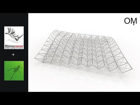 grasshopper tutorial ,space frame, tridilosa estructura , espacial ۞