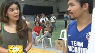 Pacquiao shoots hoops with pros, celebs
