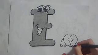 Funny Alphabet - How to draw funny ketter E - is for Elephant