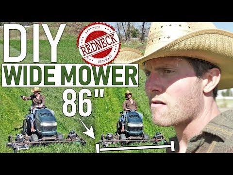 DIY REDNECK Wide Mower Deck. Attached two push mowers to a riding lawn mower