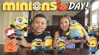 MINIONS DAY! Surprise TOY Unboxing, Movie Theater, McDonald