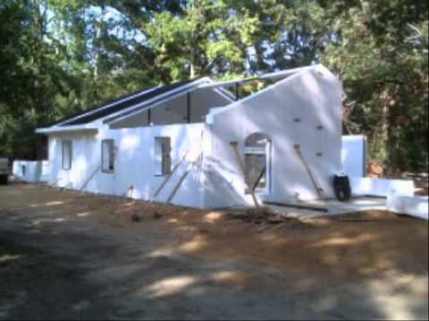 Concrete and foam structures house construction youtube for Foam block wall construction