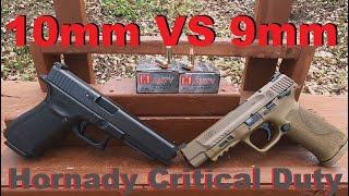 Battle of the Long Slides - Hornady Critical Duty 9mm VS 10mm - Ballistic Test