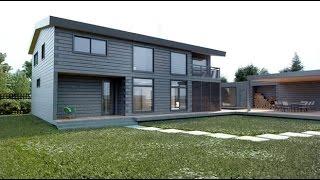 видео Дом из бруса в стиле Хай-Тек и отделка клеенного бруса