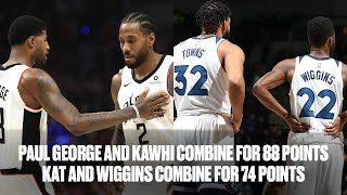 Kawhi Leonard (42 PTS) and Paul George (46 PTS) Face-Off vs KAT (39 PTS) and Andrew Wiggins (34 PTS)
