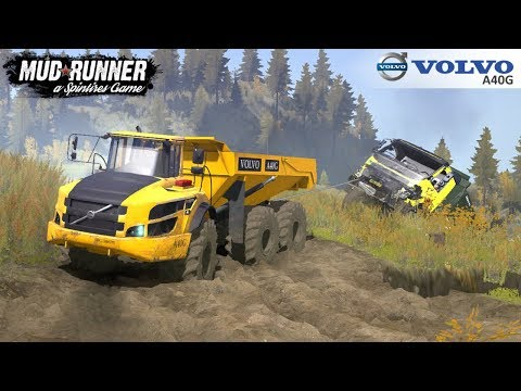 Spintires: MudRunner - VOLVO A40G Big Mining Truck Pulls Out Of The Ravine Truck
