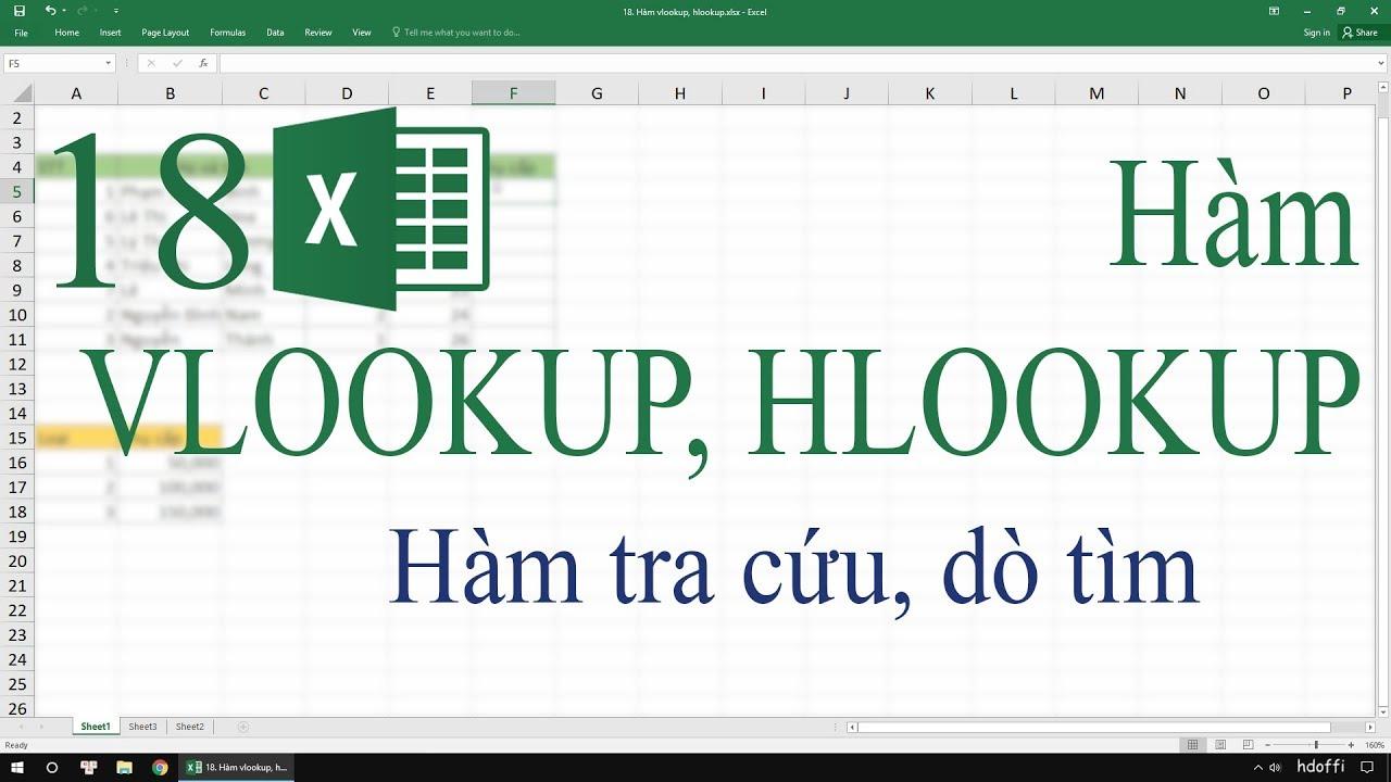 18. Hàm Vlookup, Hlookup trong Excel – Hàm tra cứu, dò tìm