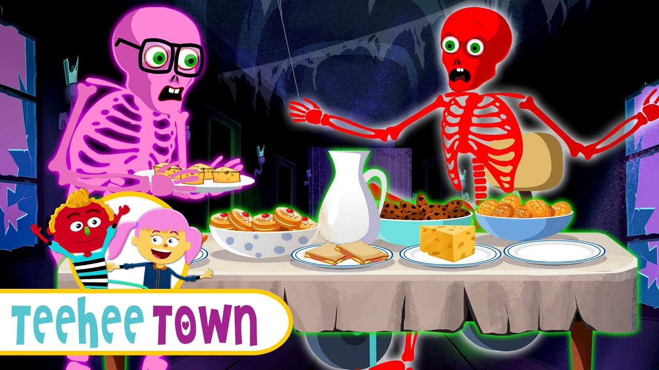 Skeleton Family DINNER Song | Spooky Fun Halloween Story and Song| Teehee Town