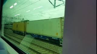 철도 열차 안에서 찍은 화물열차 통과영상
