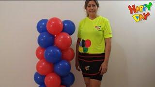 coluna de balões espiral 2 cores sem estrutura - Column of two-color spiral balloons