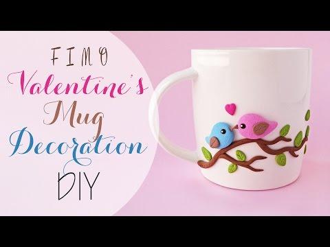 S.valentino tazza decorata in fimo - Valentine's fimo decorated mug DIY