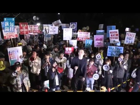 安保法制:「シールズ」国会前で施行反対訴え