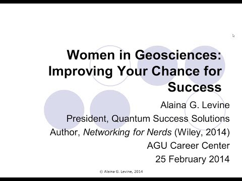 Women in Geoscience -- Improving your chance of success