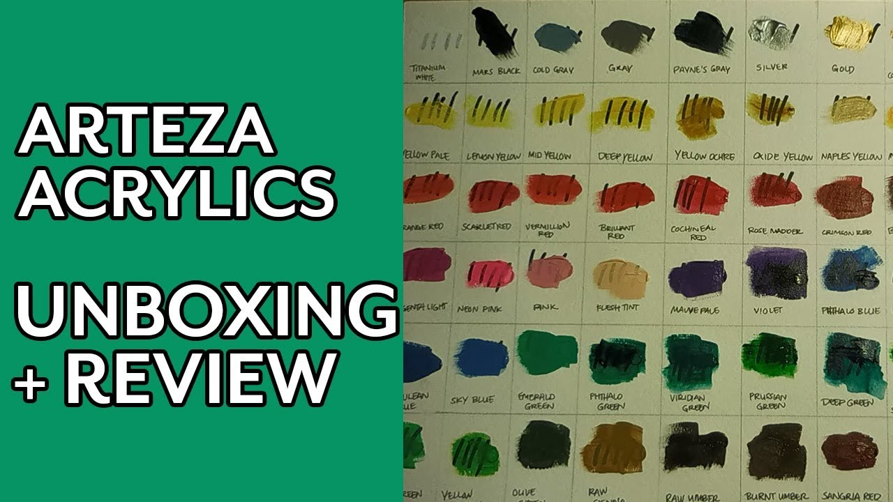 Acrylic Paint Unboxing Swatching Arteza Acrylic Paint Review Part 1 Youtube