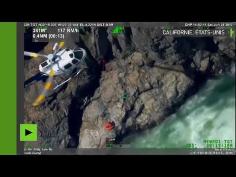 Sauvetage miraculeux d'un homme coincé sur un rocher au milieu d'un torrent