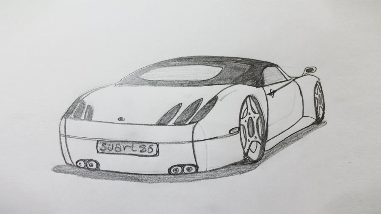 How To Draw A Sports Car Step By Step Youtube